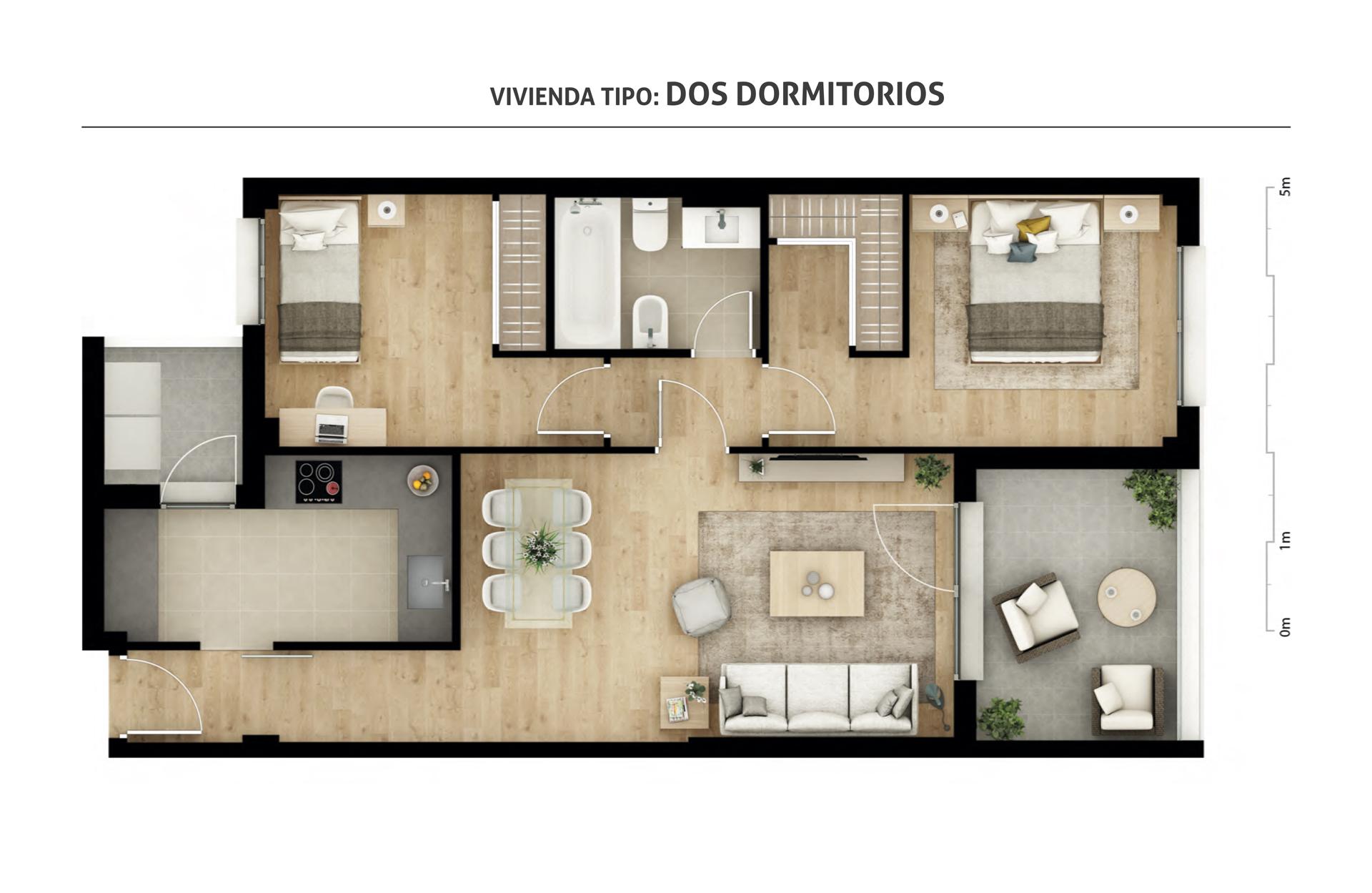 Viviendas tipo residencial plaza norte for Planos de viviendas de 2 dormitorios